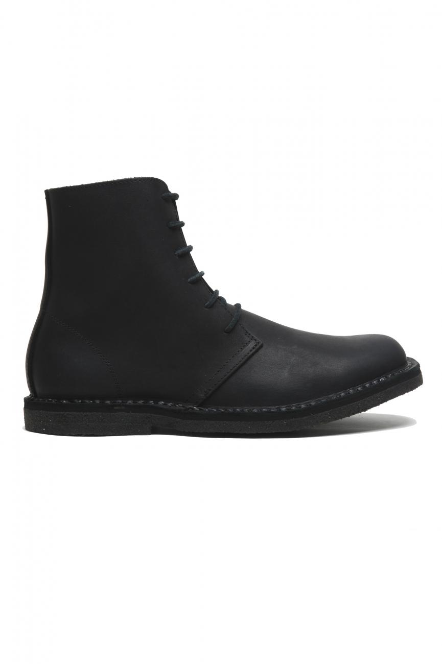 SBU 02955_2020AW Desert boots montantes classiques en cuir de veau ciré noir 01
