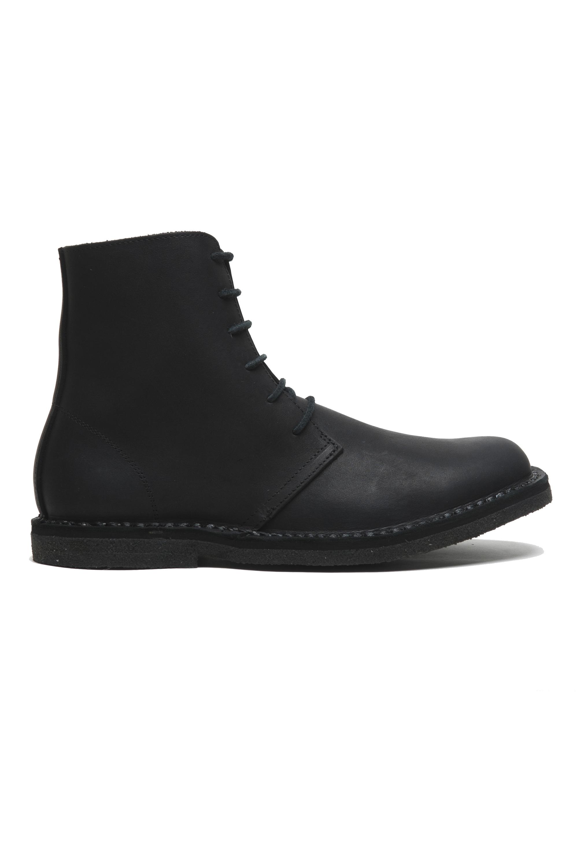 SBU 02955_2020AW Classic high top desert boots in pelle spalmata nera 01