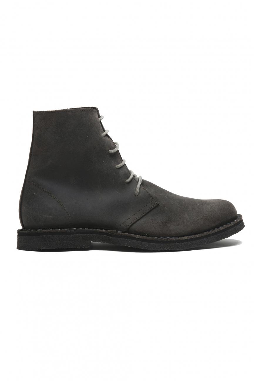 SBU 02956_2020AW Classic high top desert boots in grey waxed calfskin leather 01