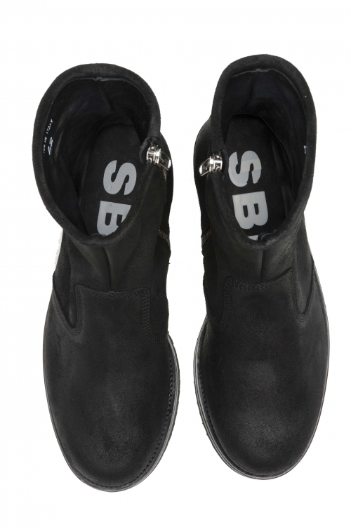SBU 02961_2020AW ブラックオイルレザーのクラシックなオートバイブーツ 01