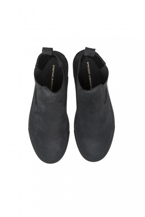 SBU 02962_2020AW Classic elastic sided boots in grey nubuck calfskin leather 01