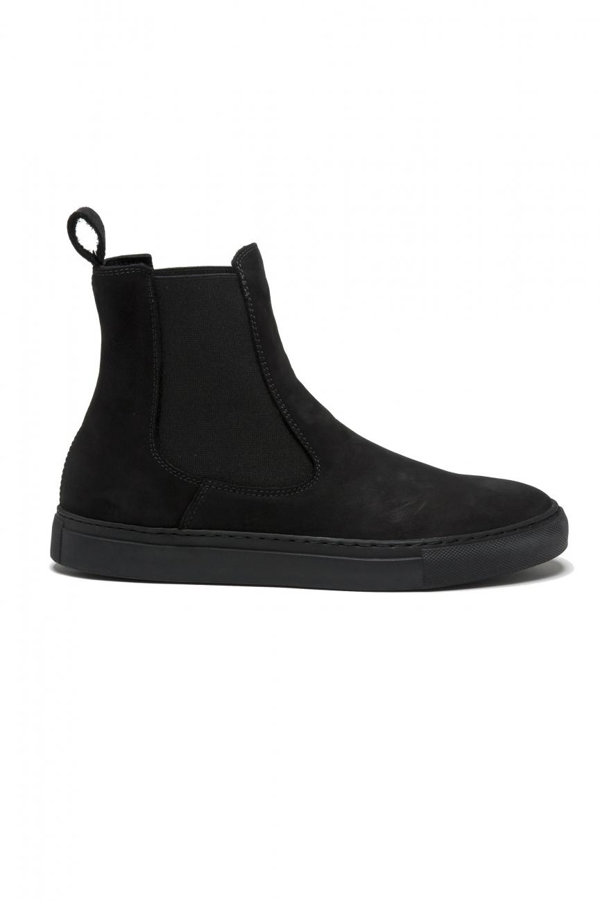 SBU 02963_2020AW Classic elastic sided boots in black nubuck calfskin leather 01