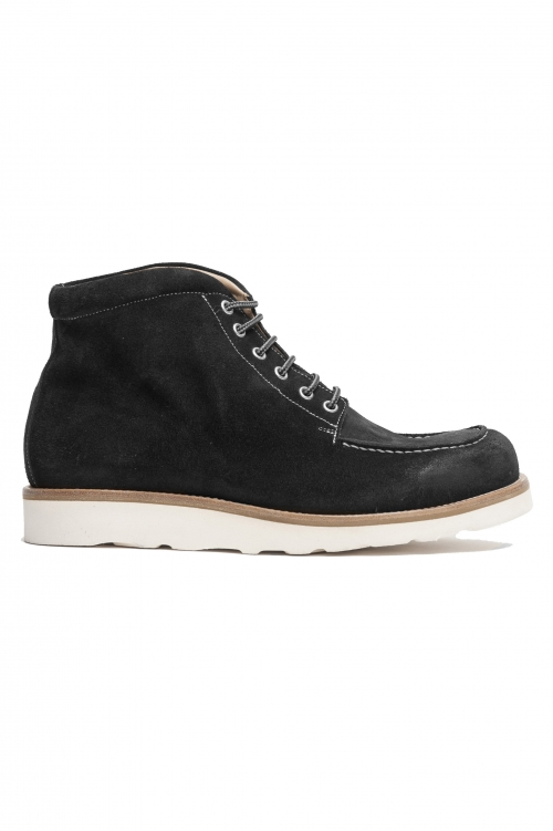 SBU 02965_2020AW High top work boots in black suede leather 01