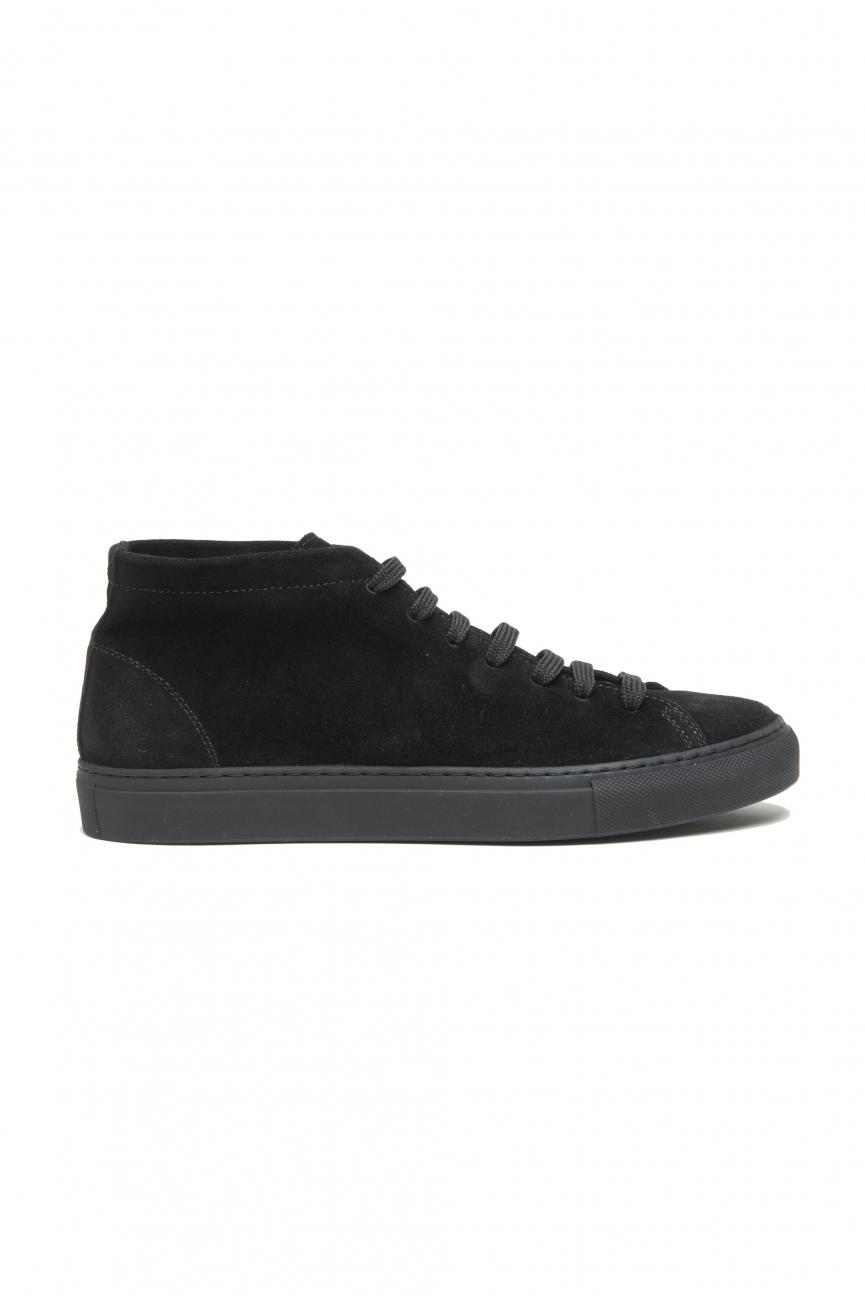 SBU 02966_2020AW Sneakers stringate alte in pelle scamosciata nere 01