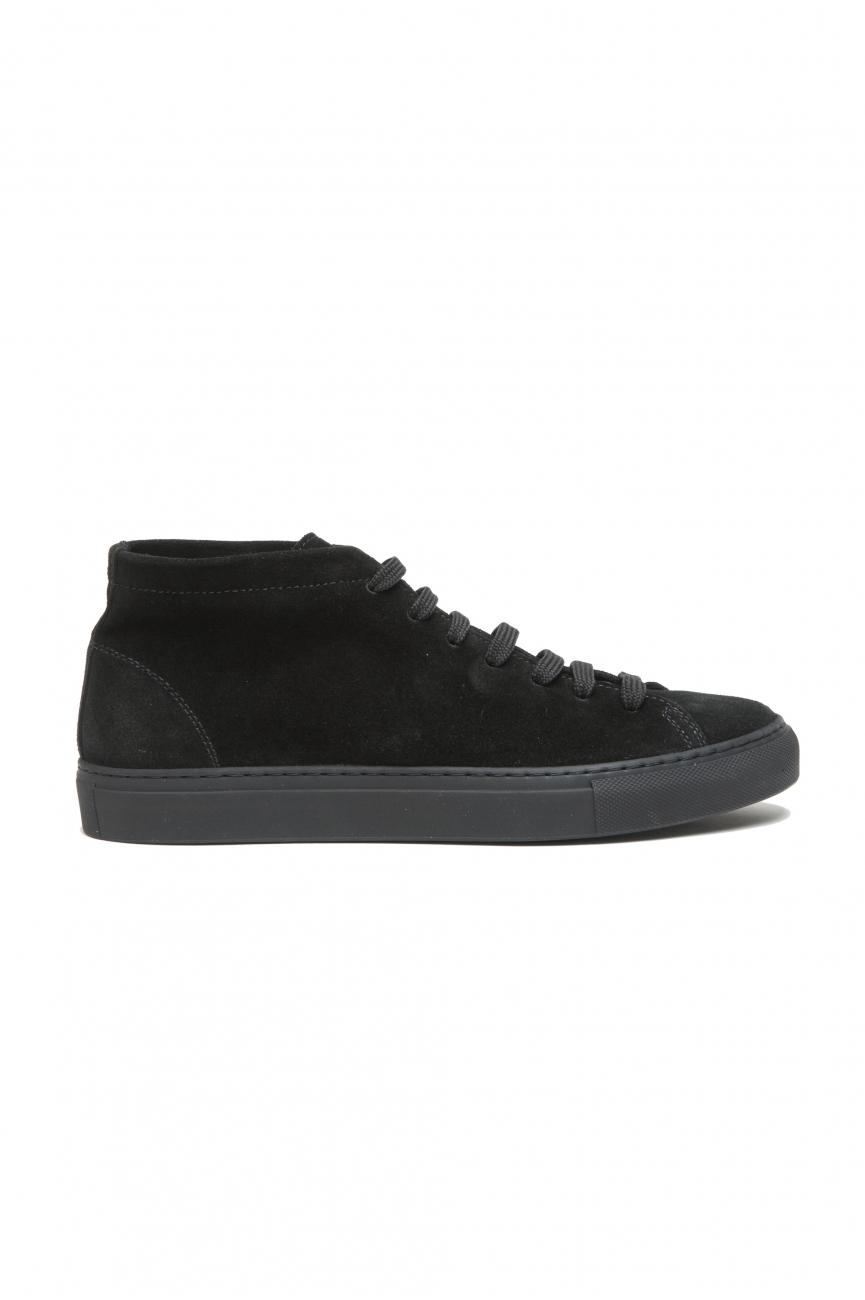 SBU 02966_2020AW Zapatillas negras altas con cordones en piel de ante 01