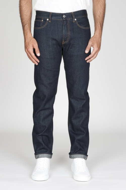 SBU - Strategic Business Unit - Jeans Cimosa Cotone Puro Indaco Denim Giapponese Lavato Blue