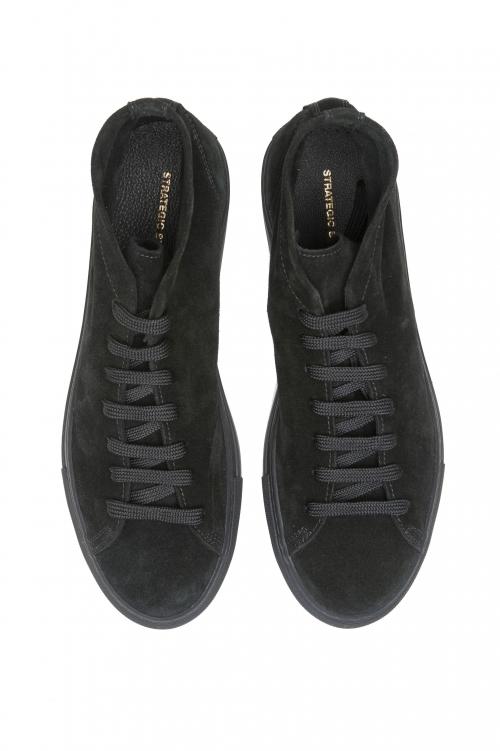 SBU 02966_2020AW Baskets noires à lacets mi-hautes en cuir suédé 01