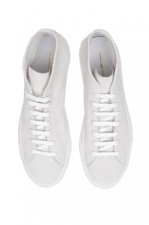 SBU 02967_2020AW White mid top lace up sneakers in suede leather 01