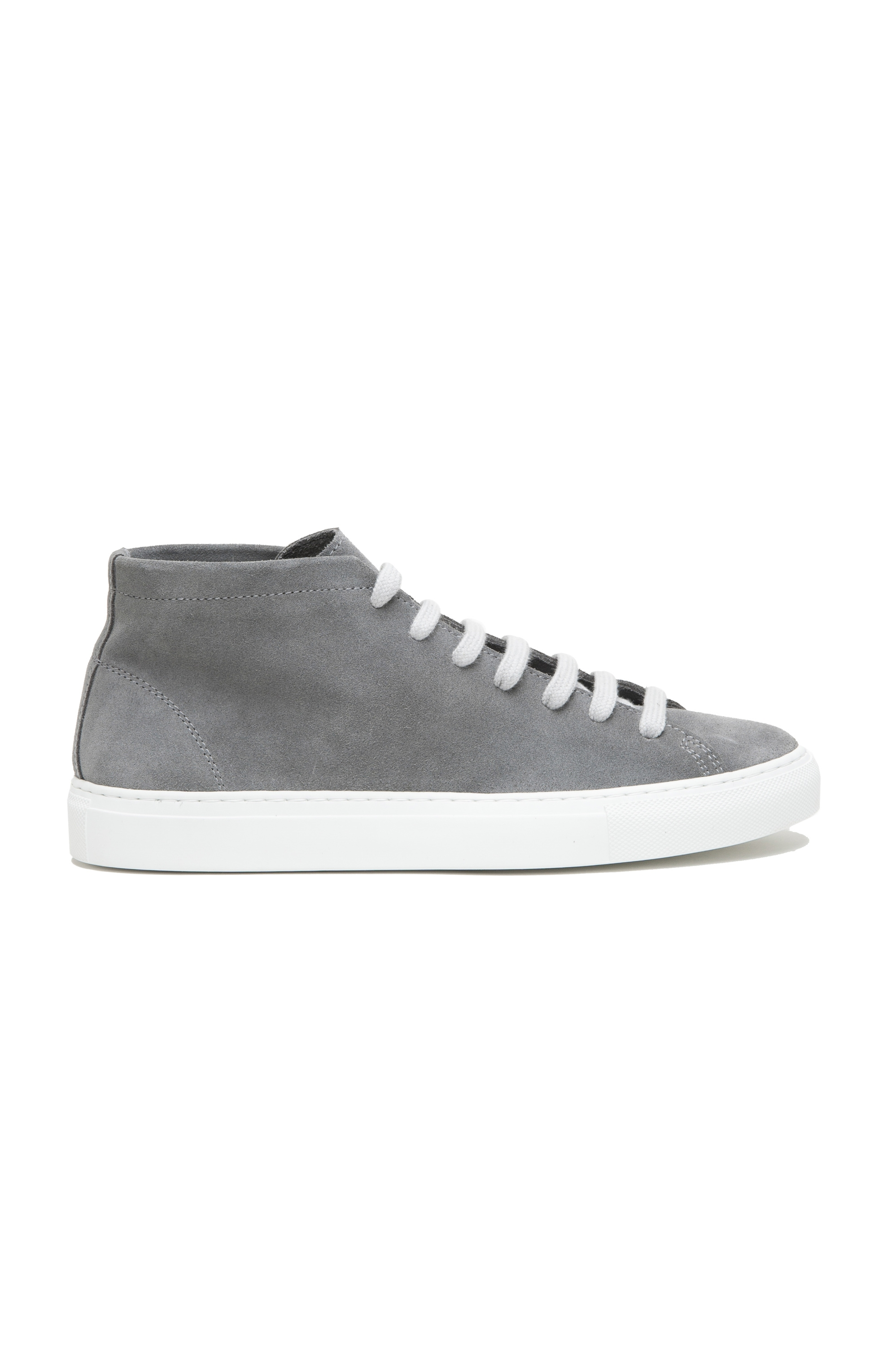 SBU 02969_2020AW Grey mid top lace up sneakers in suede leather 01