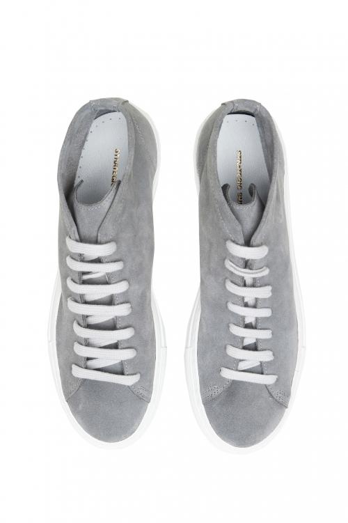 SBU 02969_2020AW Zapatillas grises altas con cordones en piel de ante 01