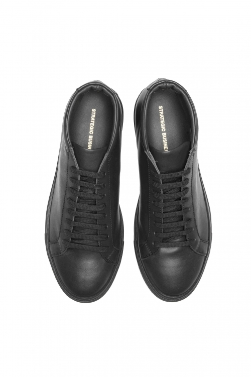 SBU 02971_2020AW Mid top lace up sneakers in black calfskin leather 01