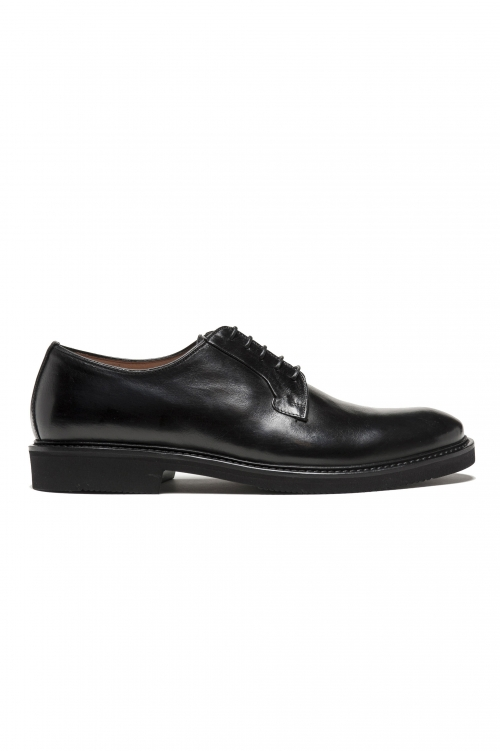 SBU 02972_2020AW Black lace-up plain calfskin derbies with Vibram rubber sole 01