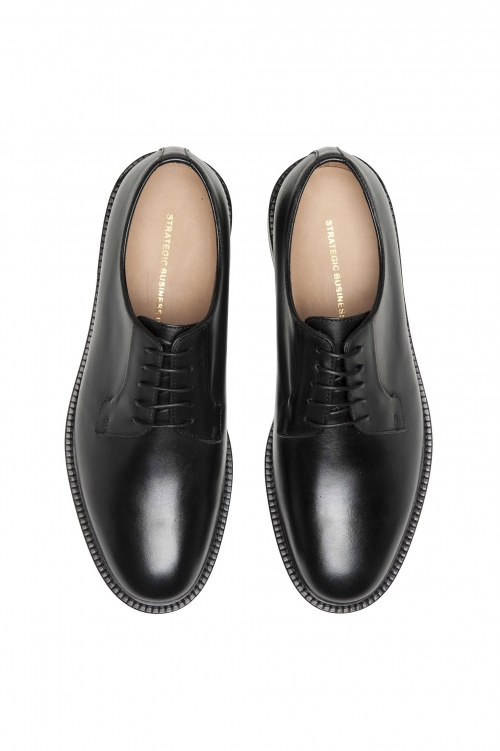 SBU 02975_2020AW Black lace-up plain calfskin derbies with leather sole 01