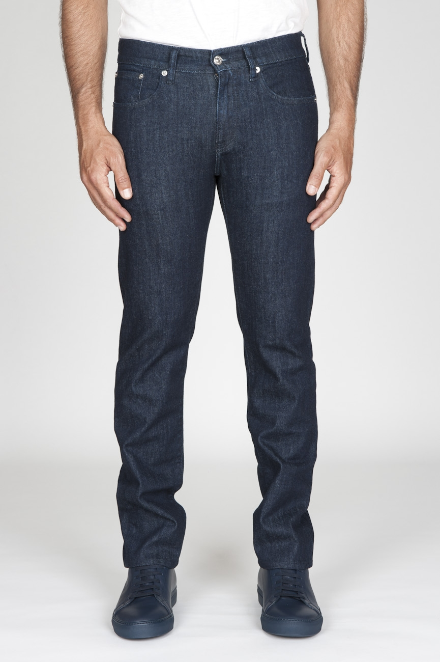 Original Indigo Dyed Japanese Stretch Denim Dark Blue Jeans