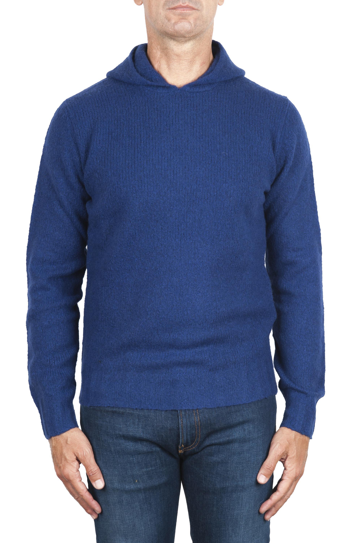 SBU 02978_2020AW Pull à capuche bleu en cachemire et laine mélangés 01