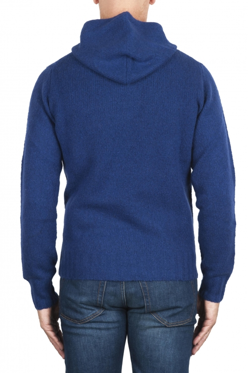 SBU 02978_2020AW Blue cashmere and wool blend hooded sweater 01