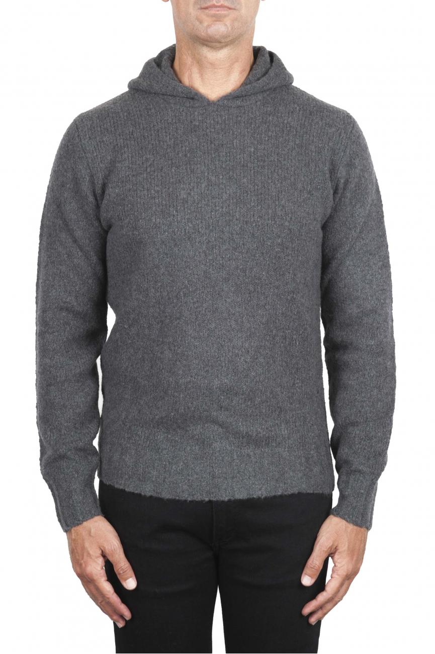 SBU 02979_2020AW Pull à capuche gris en cachemire et laine mélangés 01