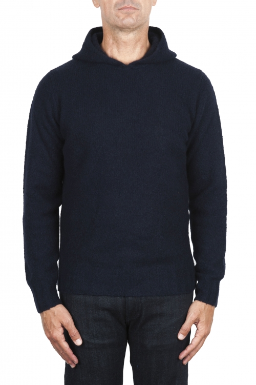 SBU 02980_2020AW Navy blue cashmere and wool blend hooded sweater 01