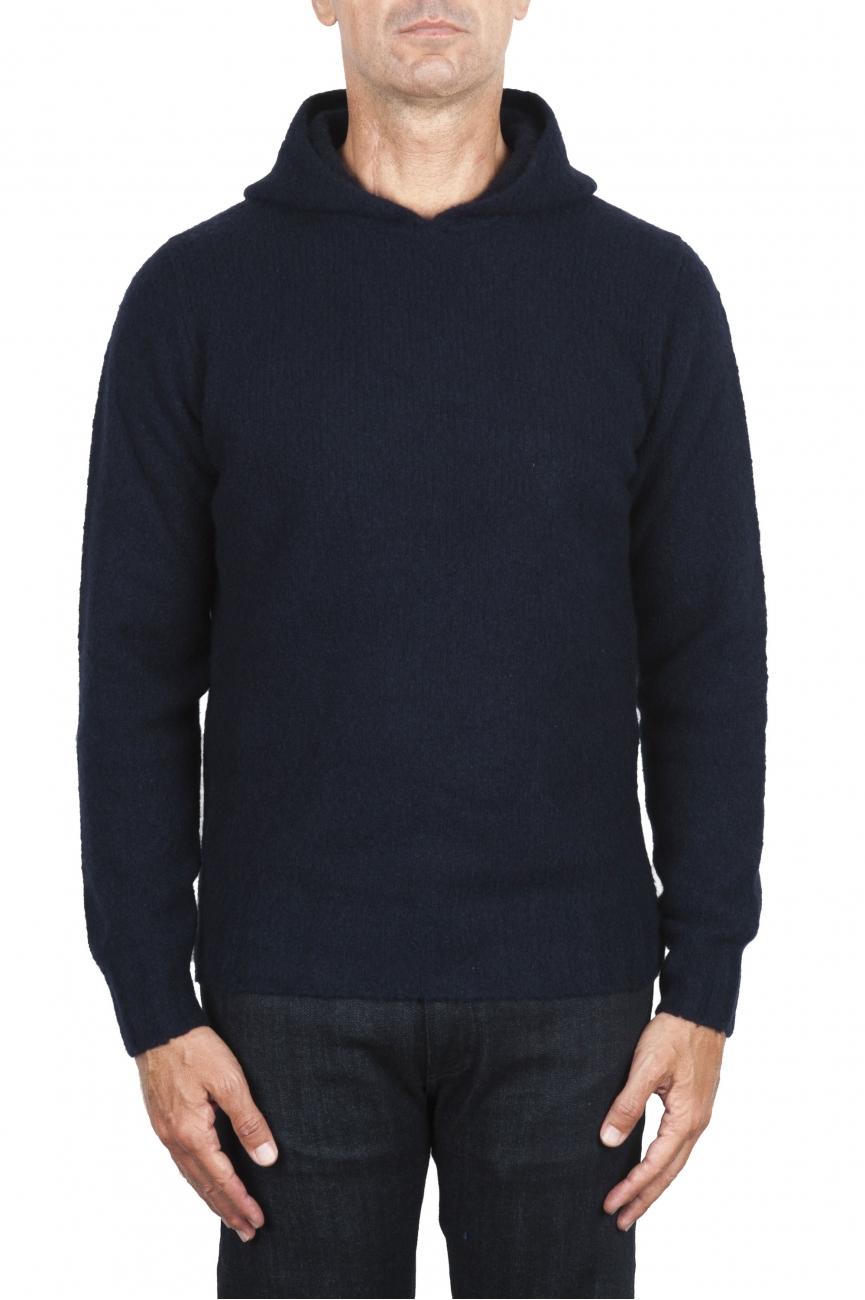 SBU 02980_2020AW Pull à capuche bleu marine en cachemire et laine mélangés 01