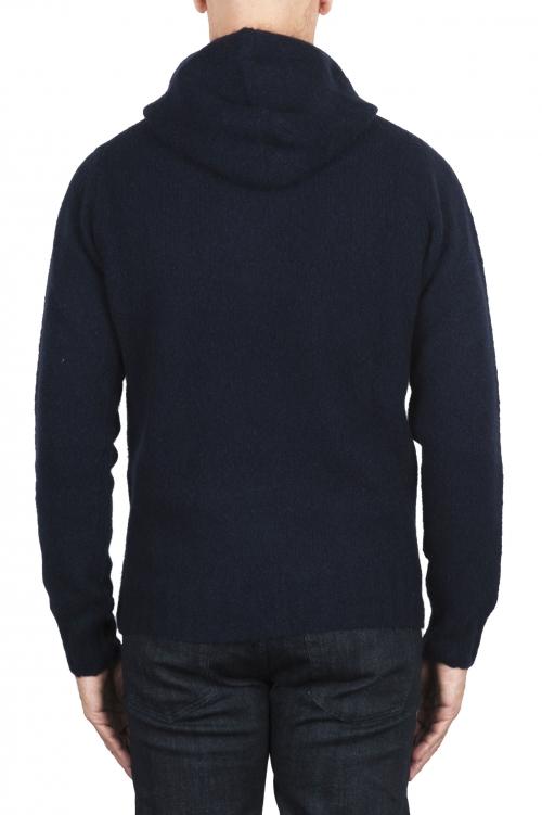 SBU 02980_2020AW ネイビーブルーのカシミアとウール混のフード付きセーター 01