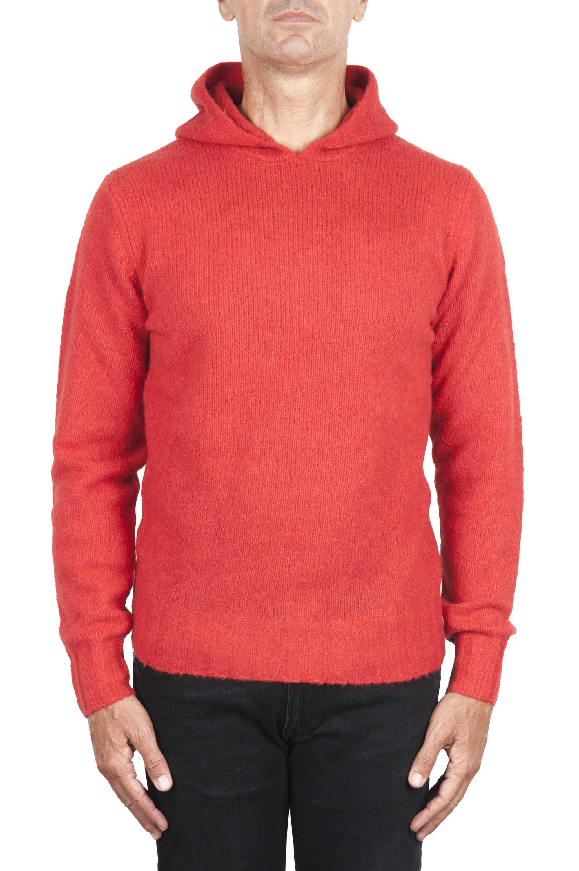 SBU 02981_2020AW Pull à capuche orange en cachemire et laine mélangés 01
