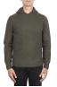 SBU 02982_2020AW Maglia con cappuccio in lana misto cashmere verde 01