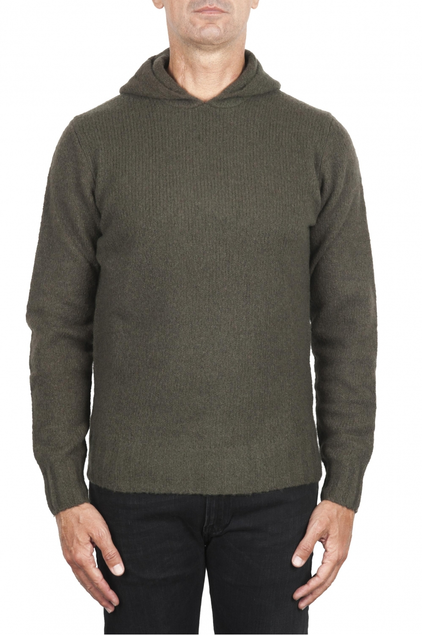 SBU 02982_2020AW Green cashmere and wool blend hooded sweater 01