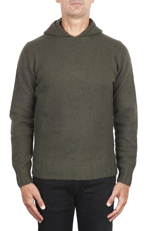 SBU 02982_2020AW Pull à capuche vert en cachemire et laine mélangés 01