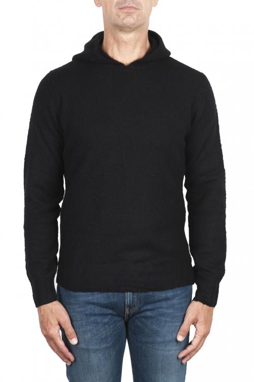 SBU 02983_2020AW ブラックカシミアとウール混のフード付きセーター 01