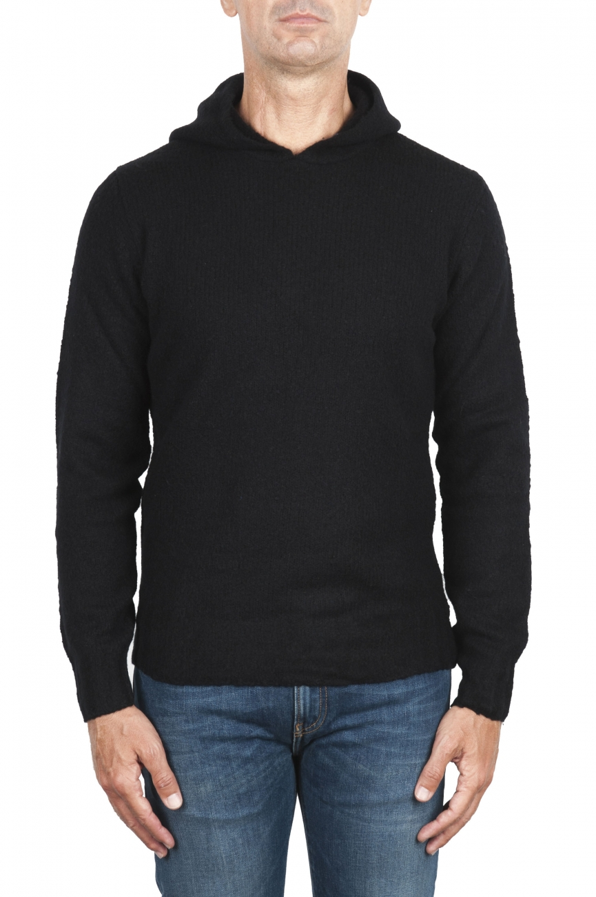 SBU 02983_2020AW Black cashmere and wool blend hooded sweater 01