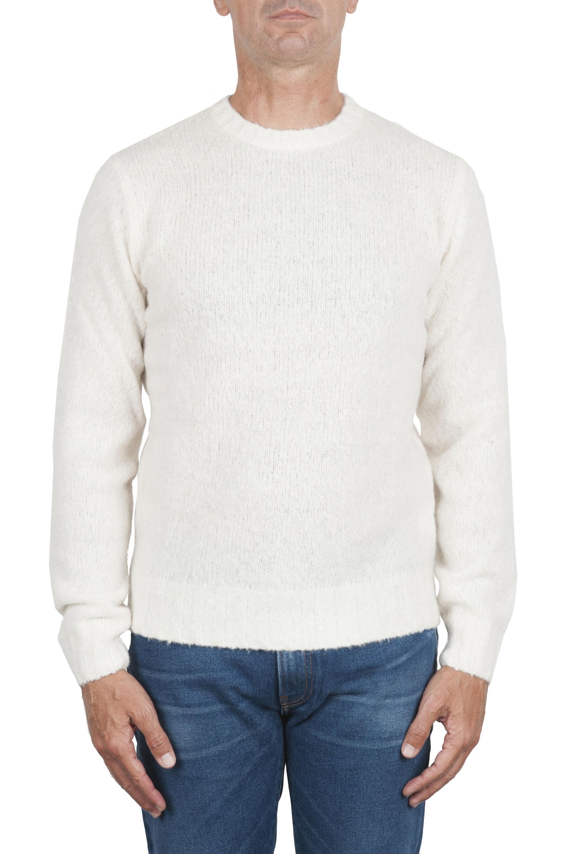 SBU 02985_2020AW Pull à col rond en cachemire et laine mélangés blanc 01
