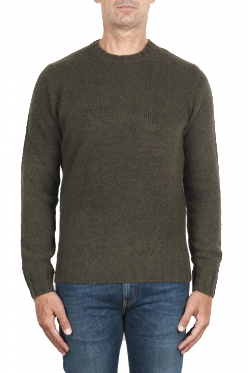 SBU 02986_2020AW Green cashmere and wool blend crew neck sweater 01