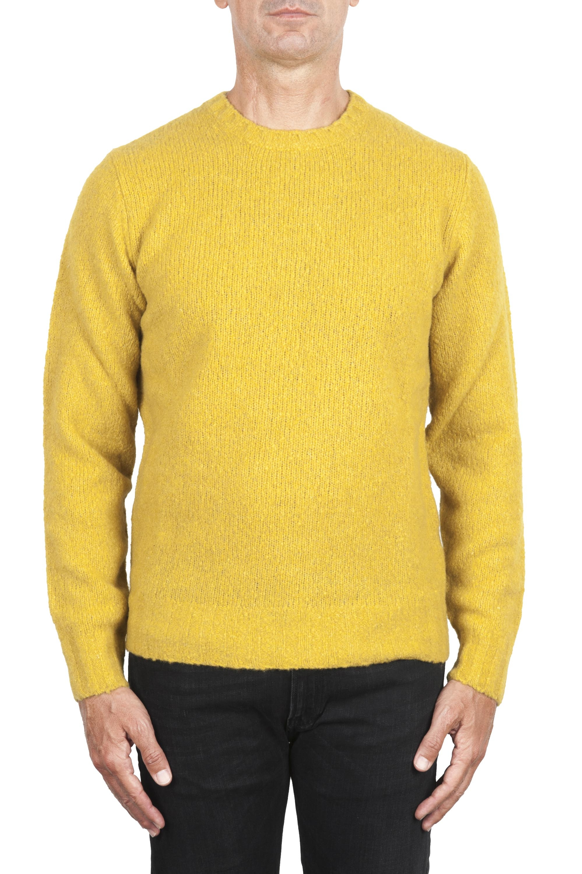 SBU 02987_2020AW Yellow cashmere and wool blend crew neck sweater 01