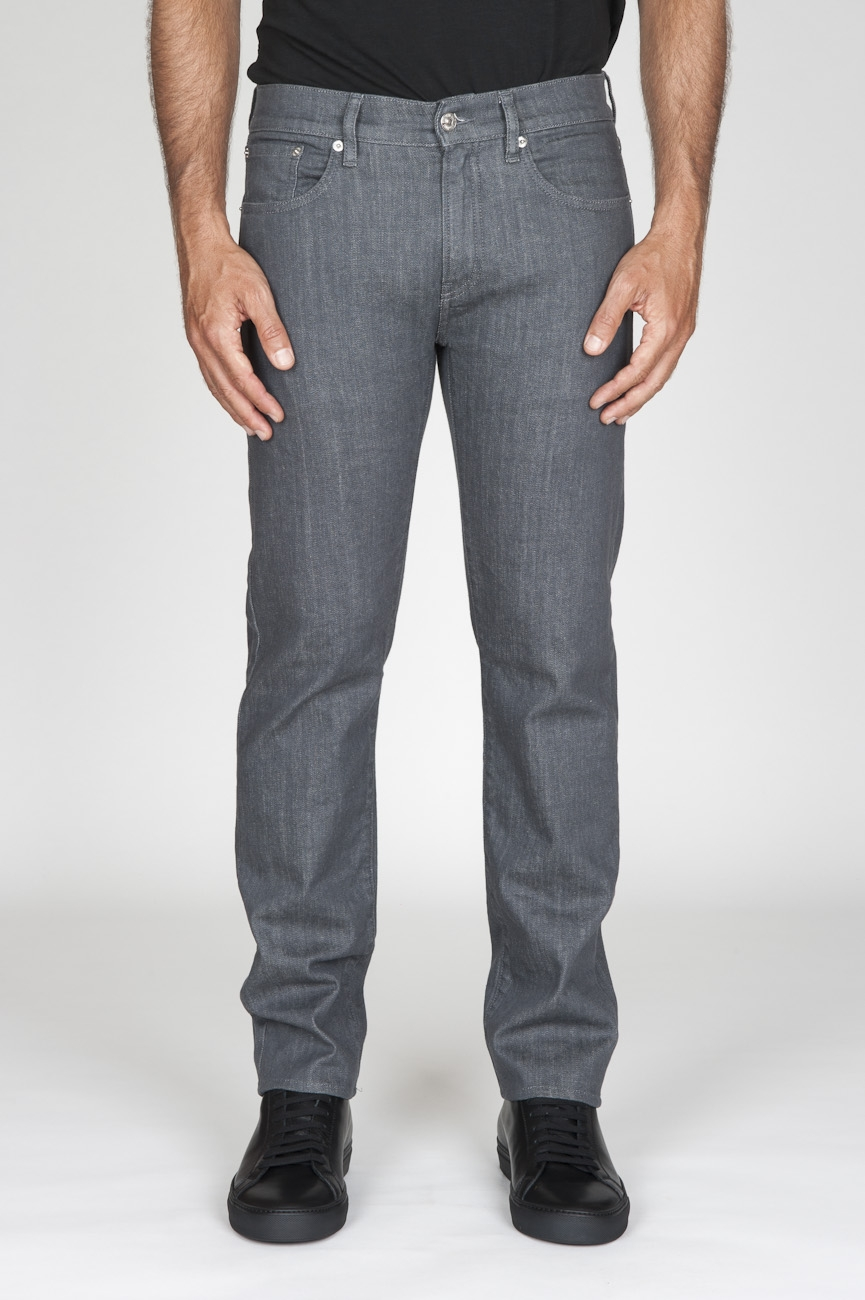 SBU - Strategic Business Unit - Original Natural Dye Japanese Stretch Denim Washed Grey Jeans