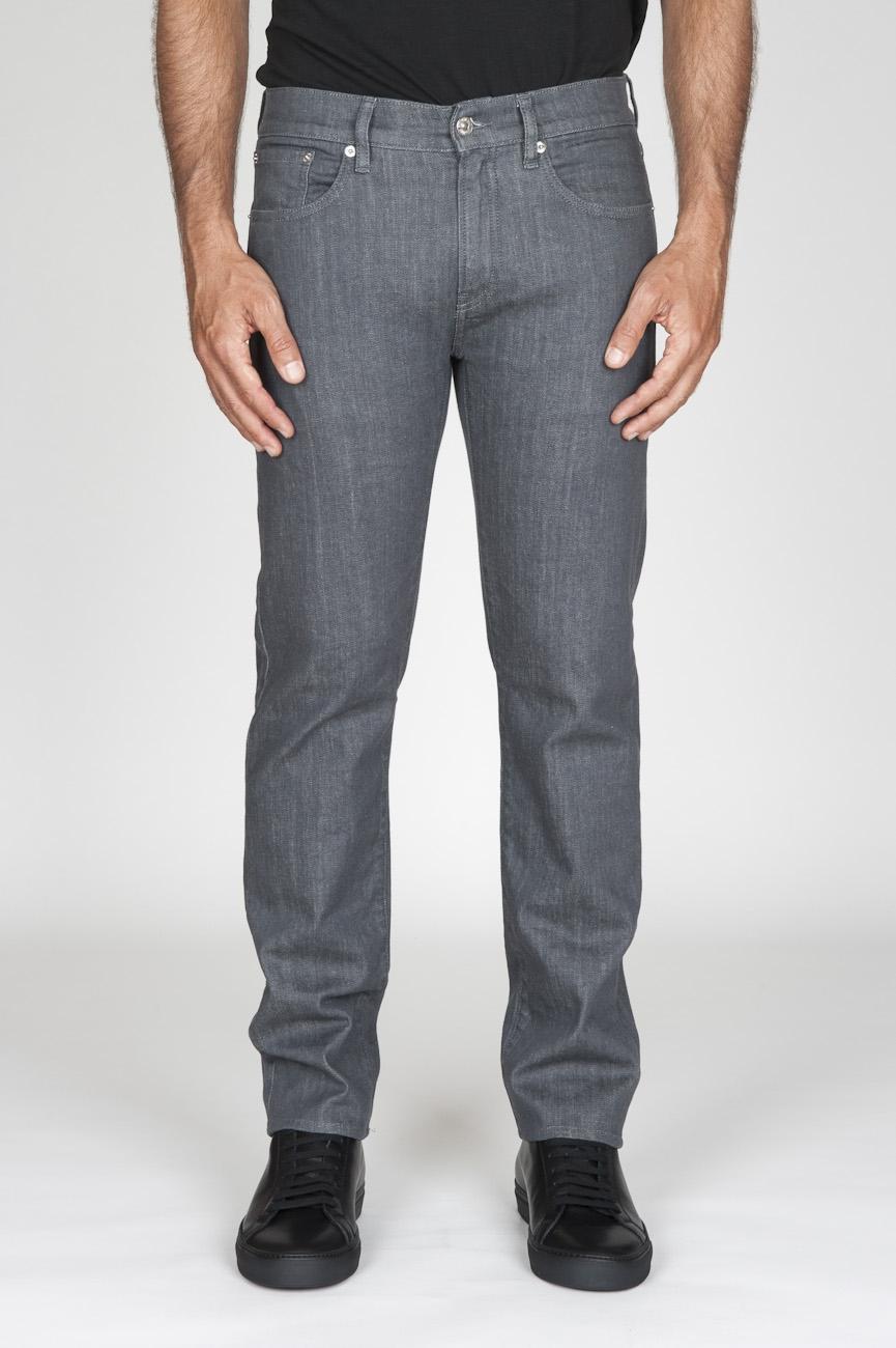 オリジナルの天然染料日本のストレッチデニムはグレーのジーンズを洗浄しました