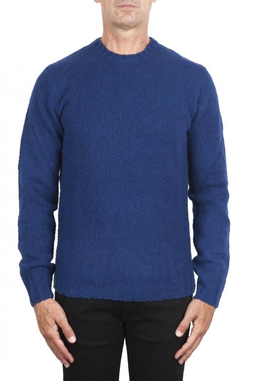 SBU 02988_2020AW Pull à col rond en cachemire et laine mélangés bleu 01