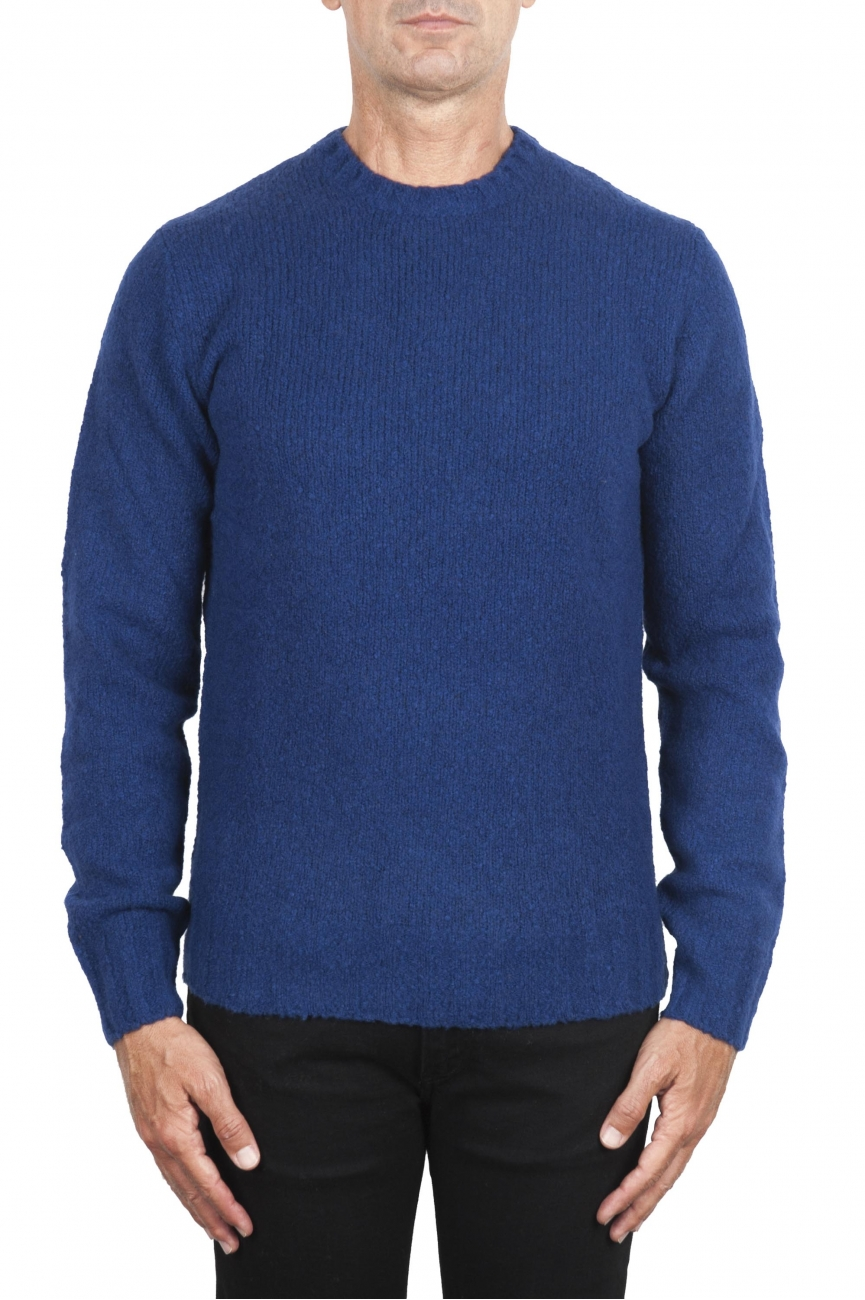 SBU 02988_2020AW Blue cashmere and wool blend crew neck sweater 01