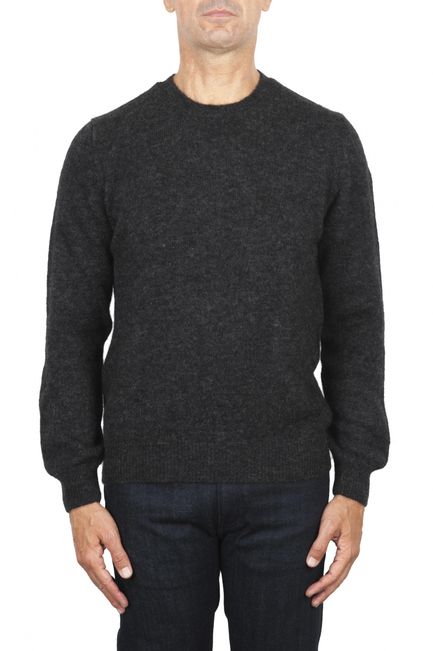 SBU 02992_2020AW Grey alpaca and wool blend crew neck sweater 01
