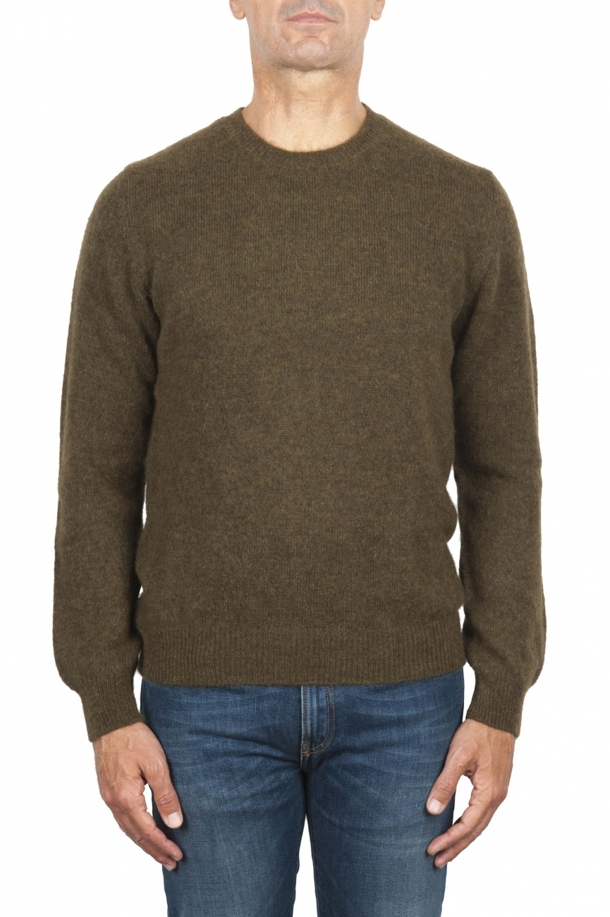 SBU 02993_2020AW Green alpaca and wool blend crew neck sweater 01