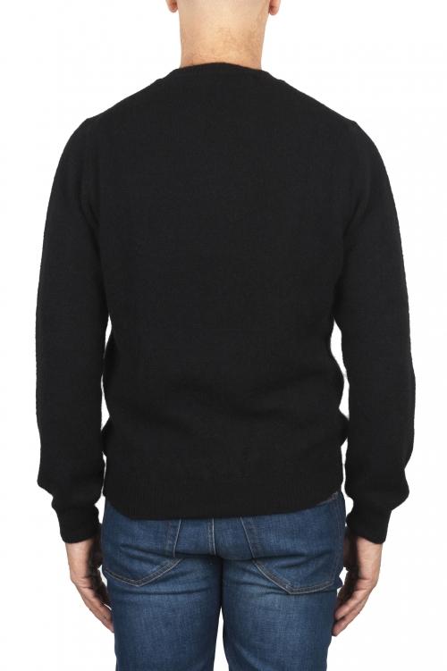 SBU 02995_2020AW Black alpaca and wool blend crew neck sweater 01