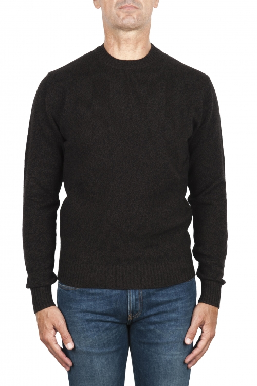 SBU 02996_2020AW Melange brown wool and cashmere blend crew neck sweater 01