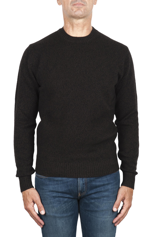 SBU 02996_2020AW Jersey de cuello redondo en mezcla de lana y cachemir marrón melange 01