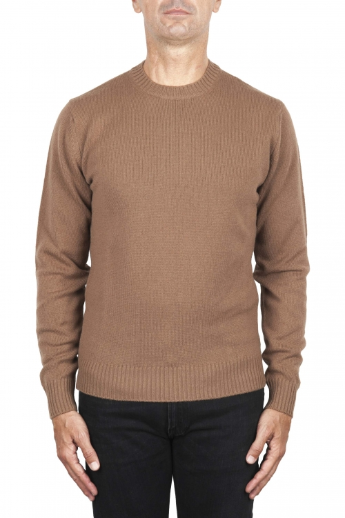 SBU 02997_2020AW Brown wool and cashmere blend crew neck sweater 01