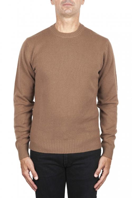 SBU 02997_2020AW Maglia girocollo in lana misto cashmere marrone 01