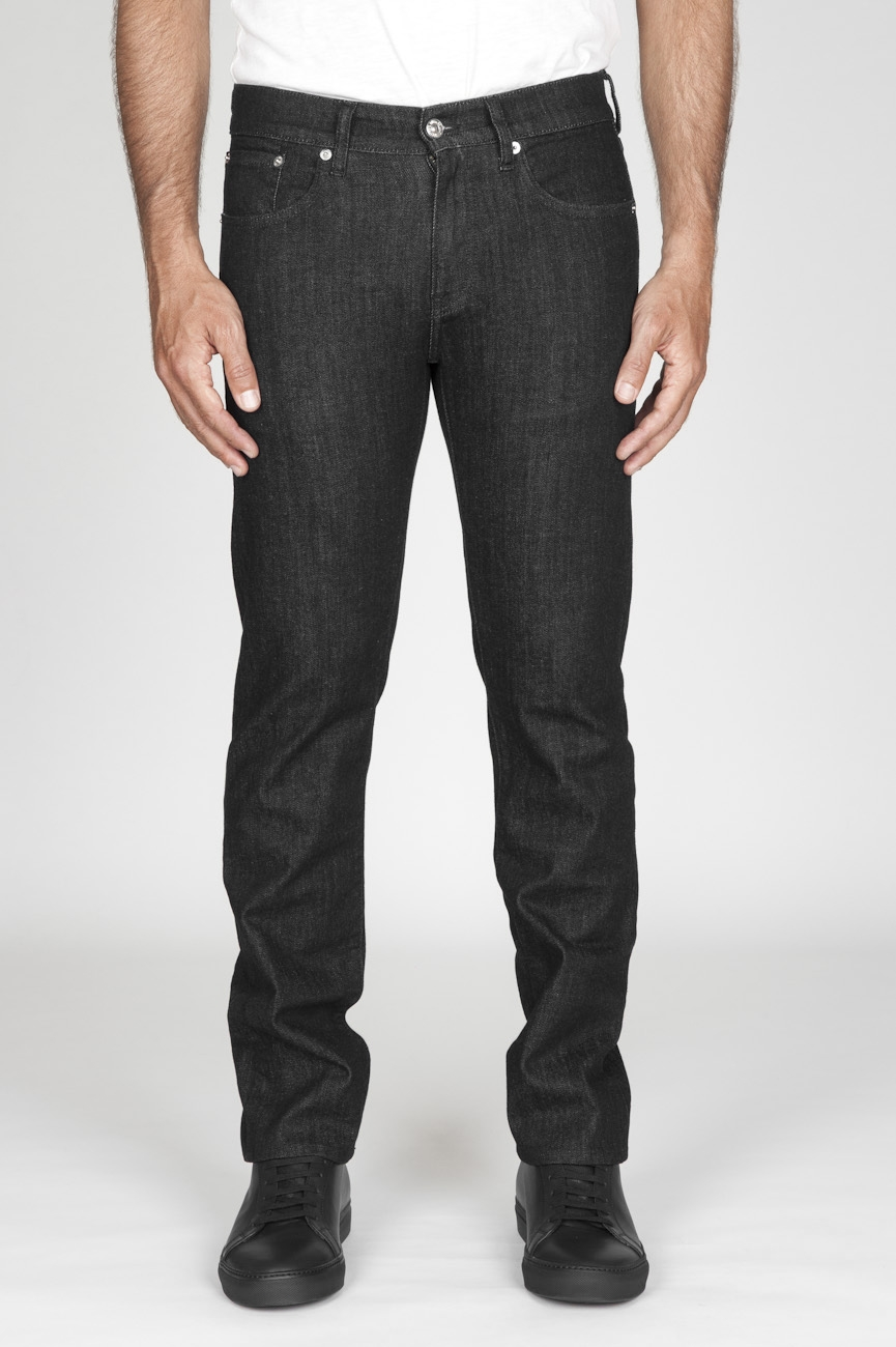 SBU - Strategic Business Unit - Jeans Tinto China Stretch Denim Giapponese Lavato Nero