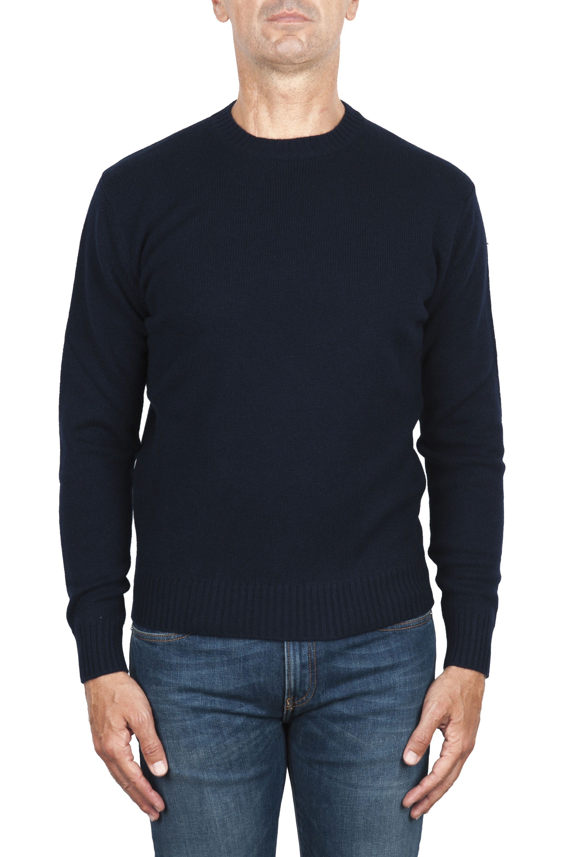 SBU 02998_2020AW Navy blue wool and cashmere blend crew neck sweater 01