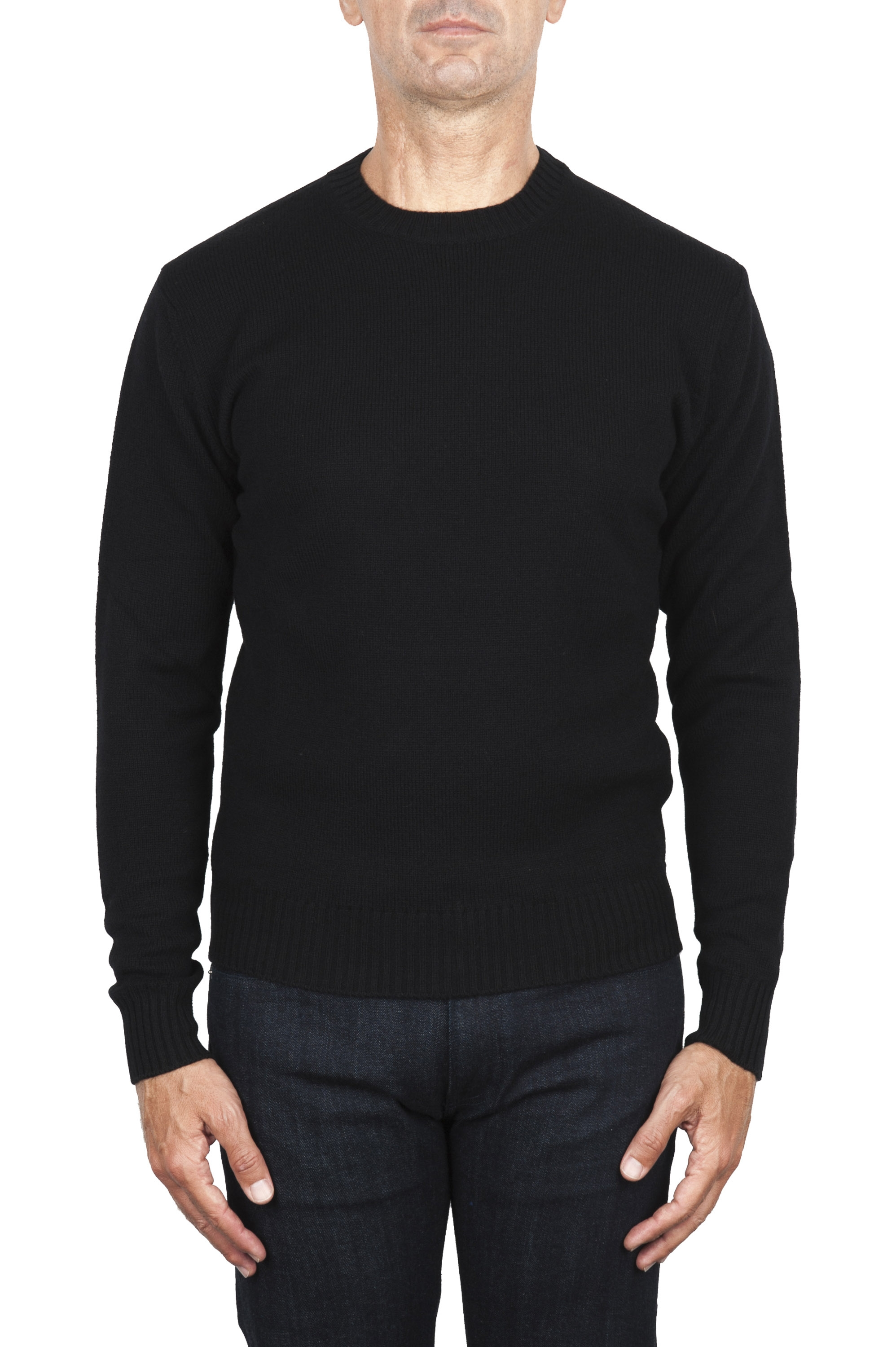 SBU 03000_2020AW Black wool and cashmere blend crew neck sweater 01