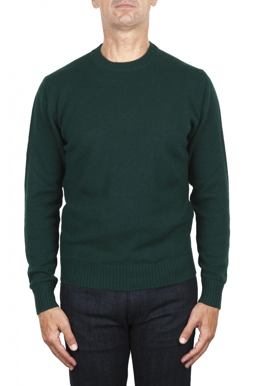 SBU 03001_2020AW Pull à col rond en laine et cachemire mélangés vert 01