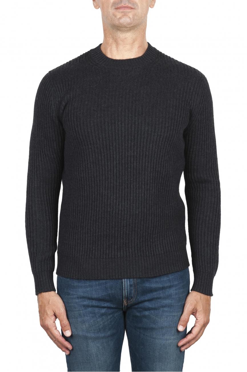 SBU 03002_2020AW Maglia girocollo in lana costa inglese grigia 01