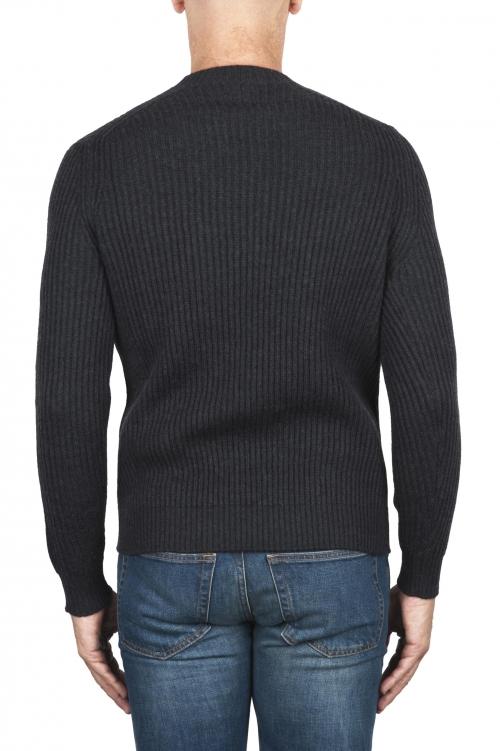 SBU 03002_2020AW Grey ribbed knit crew neck sweater 01